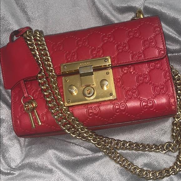 Guccissima Small Padlock Shoulder Bag Hibiscus Red